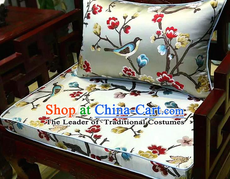 Chinese Traditional Fabric Flowers Birds Pattern White Brocade Chinese Fabric Asian Tibetan Robe Material