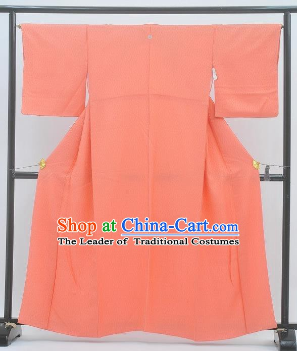 Japan Traditional Costume Orange Yukata Dress Japanese Furisode Kimono for Women