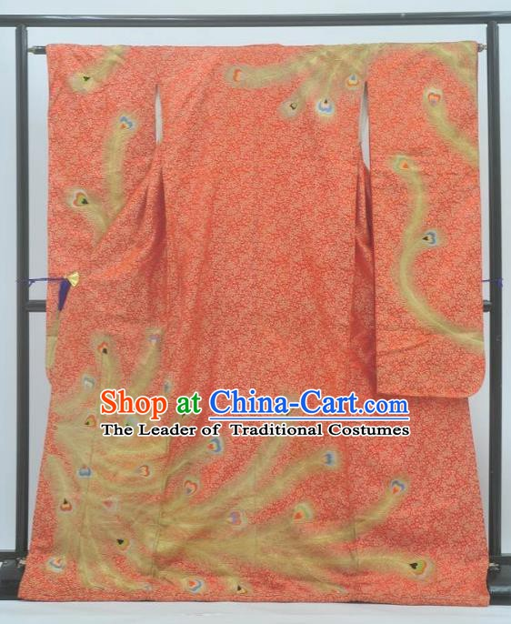 Japan Traditional Costume Phoenix Yukata Dress Japanese Furisode Kimono for Women