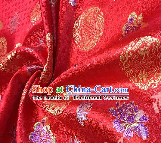 Chinese Traditional Fabric Tang Suit Peony Pattern Red Brocade Chinese Fabric Asian Tibetan Robe Material