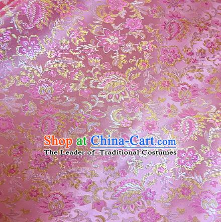 Chinese Traditional Fabric Tang Suit Flowers Pattern Pink Brocade Chinese Fabric Asian Tibetan Robe Material