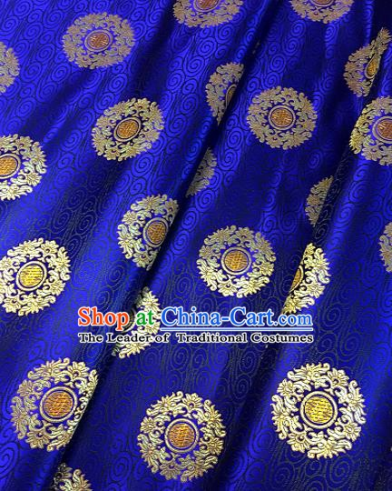 Chinese Traditional Fabric Tang Suit Royal Pattern Royalblue Brocade Chinese Fabric Asian Tibetan Robe Material