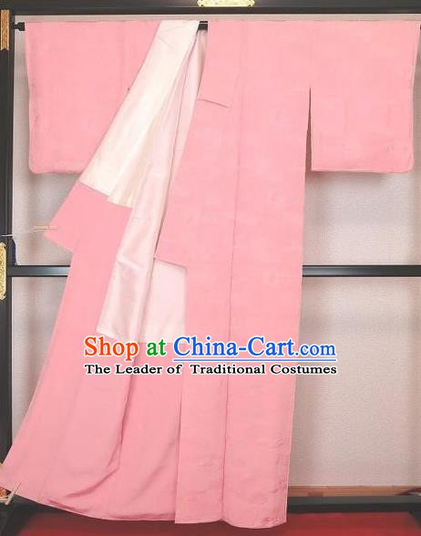 Japan Traditional Costume Pink Satin Yukata Dress Japanese Furisode Kimono for Women