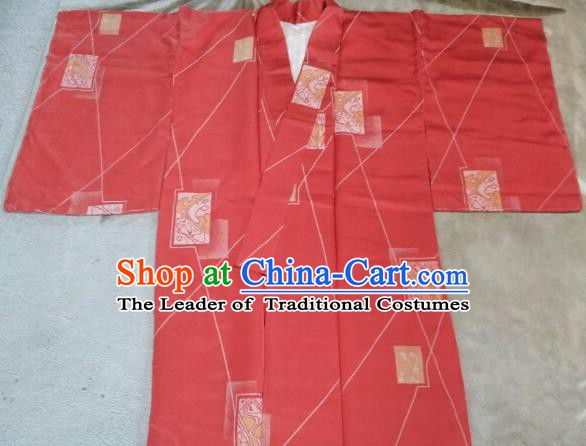 Japan Traditional Costume Printing Red Yukata Dress Japanese Furisode Kimono for Women