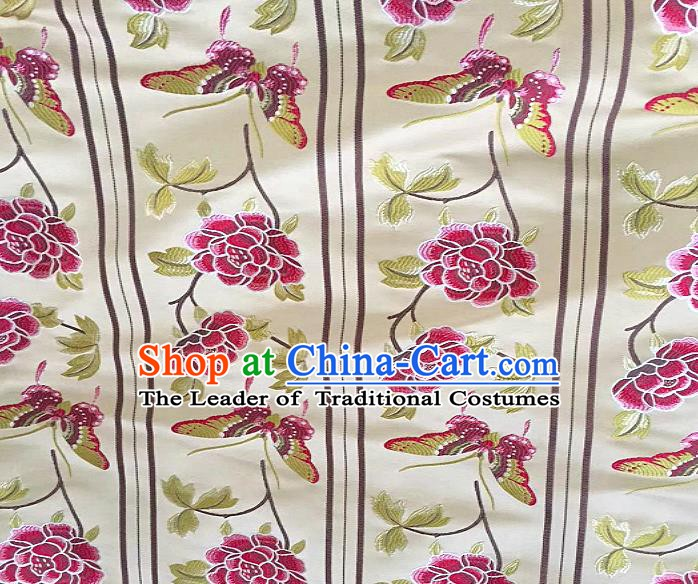 Chinese Traditional Fabric Tang Suit Peony Pattern White Brocade Chinese Fabric Asian Tibetan Robe Material