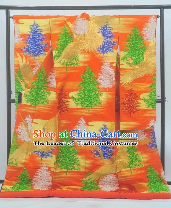 Japan Traditional Kimonos Costume Printing Pineburst Yukata Dress Japanese Furisode Kimono for Women