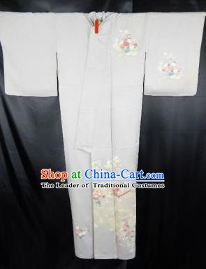 Japan Traditional Kimonos Costume Printing Grey Yukata Dress Japanese Furisode Kimono for Women