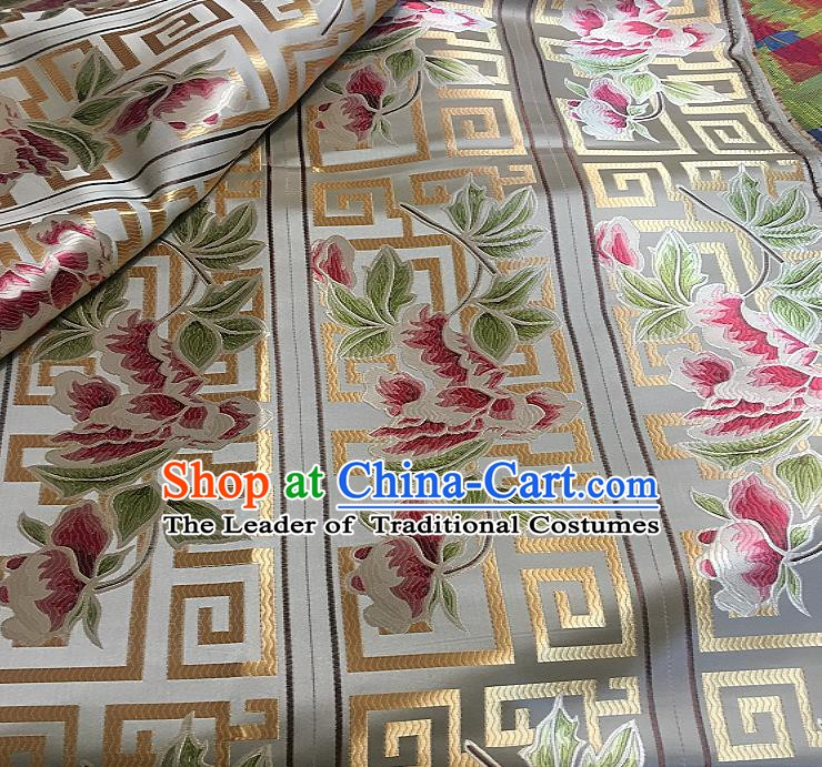 Chinese Traditional Fabric Tang Suit Peony Flowers Pattern Brocade Chinese Fabric Asian Tibetan Robe Material