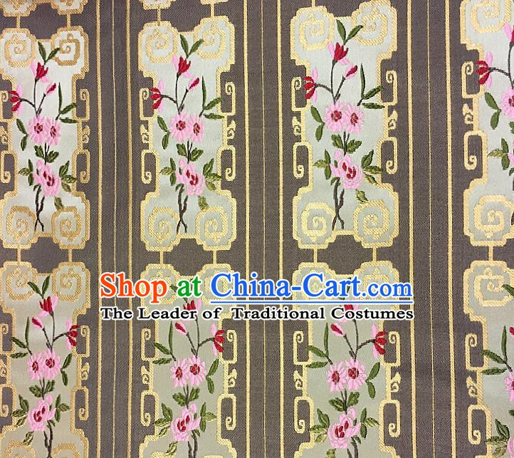 Chinese Traditional Fabric Tang Suit Flowers Pattern Brown Brocade Chinese Fabric Asian Tibetan Robe Material