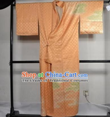 Japan Traditional Kimonos Costume Orange Satin Yukata Dress Japanese Furisode Kimono for Women