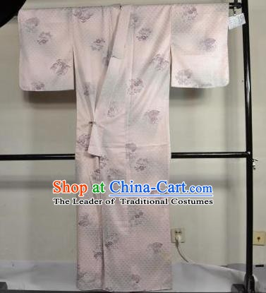 Japan Traditional Kimonos Costume Lilac Satin Yukata Dress Japanese Furisode Kimono for Women