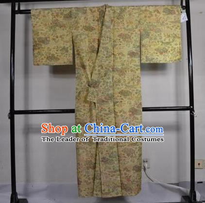 Japanese Traditional Male Kimono Clothing Printing Yellow Haori Kimonos Yukata Robe for Men