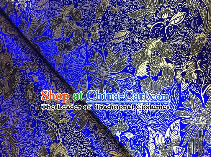 Chinese Traditional Fabric Tang Suit Lotus Pattern Royalblue Brocade Chinese Fabric Asian Cheongsam Material