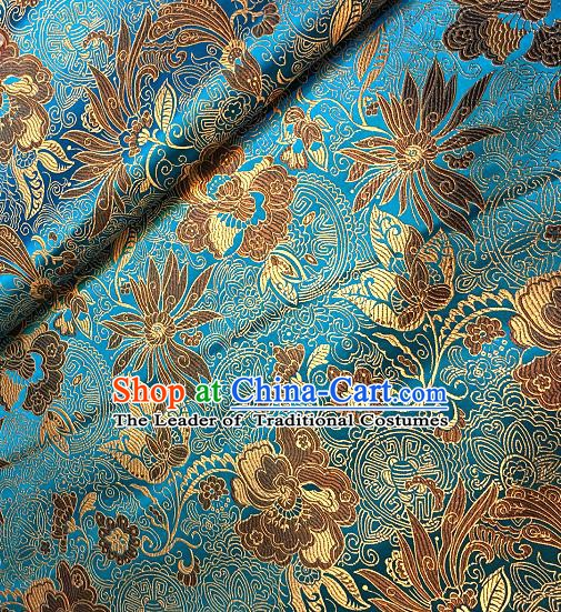 Chinese Traditional Fabric Tang Suit Lotus Pattern Blue Brocade Chinese Fabric Asian Cheongsam Material