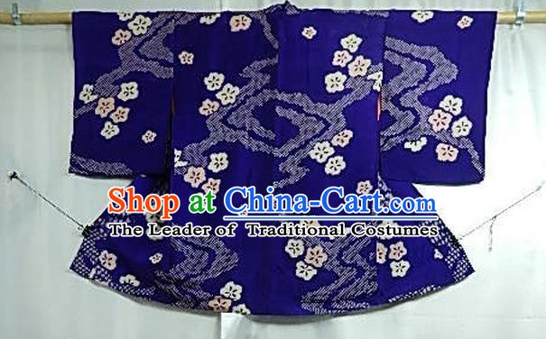 Japanese Traditional Male Kimono Clothing Royalblue Haori Kimonos for Men