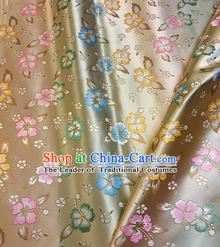 Chinese Traditional Fabric Tang Suit Flowers Pattern Beige Brocade Chinese Fabric Asian Cheongsam Material