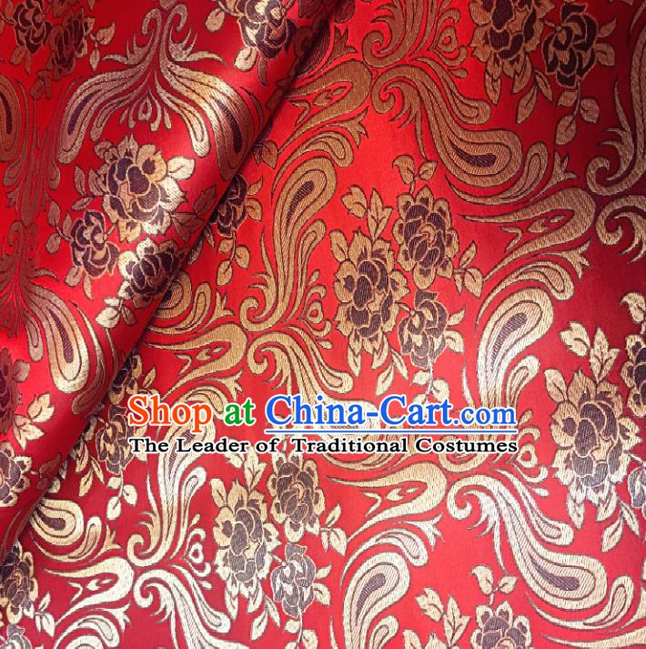Chinese Traditional Fabric Tang Suit Pattern Red Brocade Chinese Fabric Asian Cheongsam Material