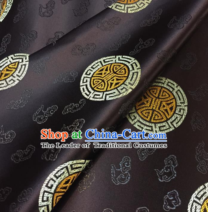 Chinese Traditional Fabric Tang Suit Pattern Coffee Brocade Chinese Fabric Asian Cheongsam Material