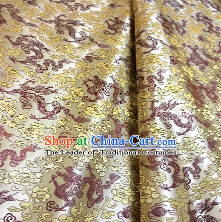 Chinese Traditional Fabric Tang Suit Dragons Pattern Yellow Brocade Chinese Fabric Asian Cheongsam Material