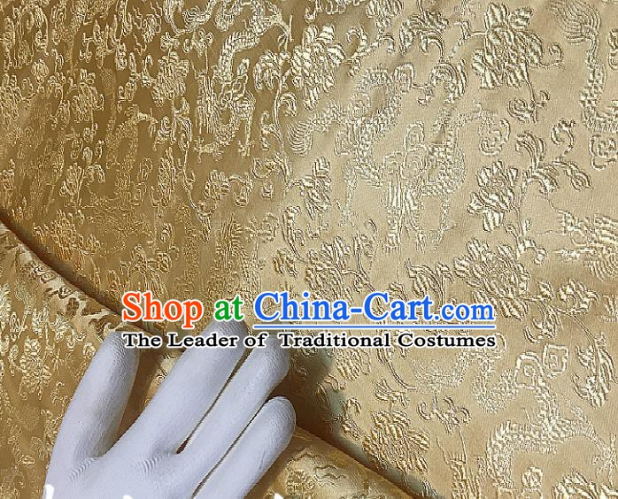 Chinese Traditional Fabric Tang Suit Pattern Golden Brocade Chinese Fabric Asian Cheongsam Material
