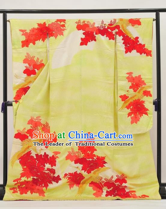 Traditional Asian Japan Clothing Japanese Fashion Apparel Furisode Kimono Costume for Women