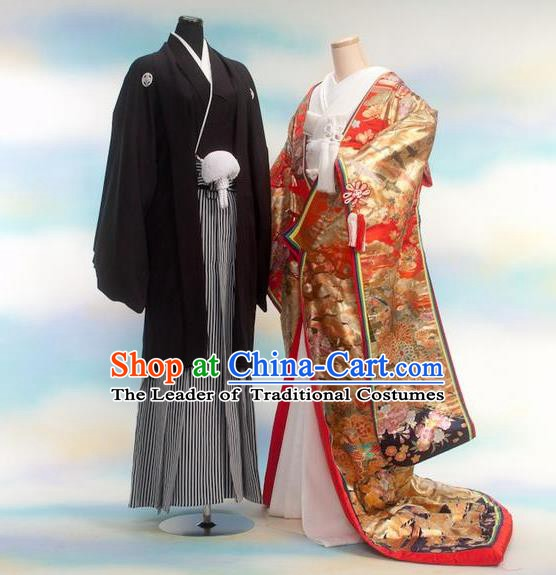 Traditional Japanese Wedding Golden Costumes Bride and Bridegroom Kimono Clothing for Women for Men