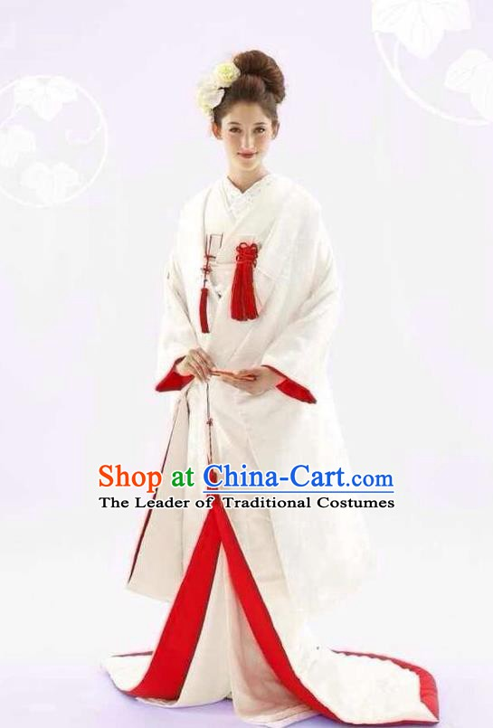 Traditional Asian Japan Costume Japanese Apparel White Furisode Kimono for Women