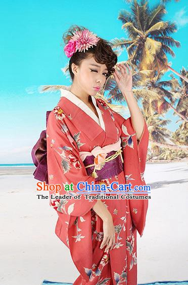 Traditional Asian Japan Costume Japanese Apparel Red Yukata Dress Furisode Kimono for Women