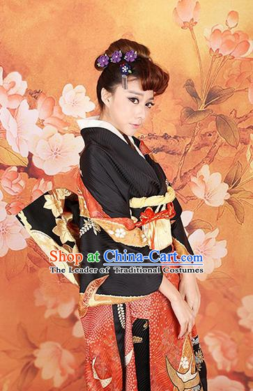 Traditional Asian Japan Costume Japanese Apparel Black Yukata Dress Furisode Kimono for Women