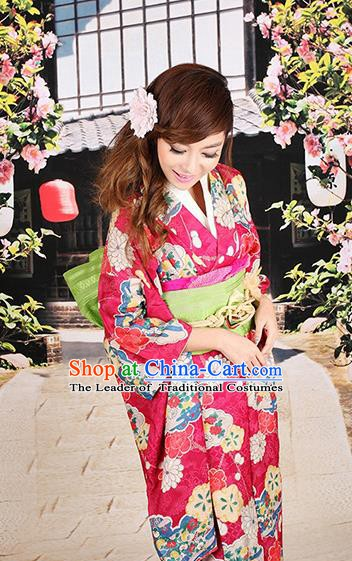 Traditional Asian Japan Costume Japanese Apparel Rosy Yukata Dress Furisode Kimono for Women