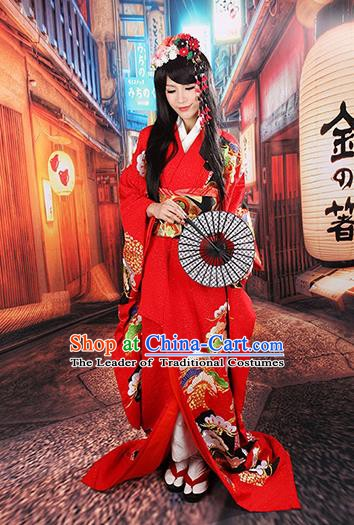 Traditional Asian Japan Wedding Costume Japanese Apparel Red Yukata Dress Furisode Kimono for Women