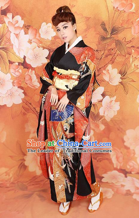 Traditional Asian Japan Wedding Costume Japanese Apparel Black Yukata Dress Furisode Kimono for Women