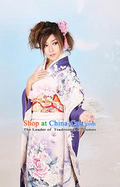Traditional Asian Japan Wedding Costume Japanese Apparel Purple Yukata Dress Furisode Kimono for Women