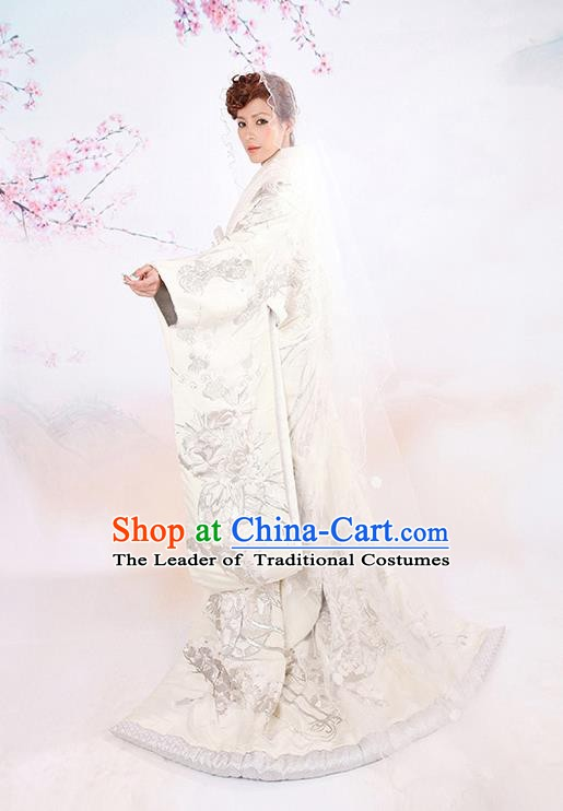 Traditional Asian Japan Wedding Costume Japanese Bride White Yukata Dress Furisode Kimono for Women