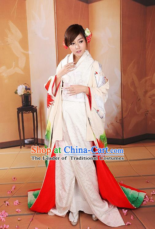 Traditional Asian Japan Wedding Costume Japanese Bride Yukata Dress Furisode Kimono for Women