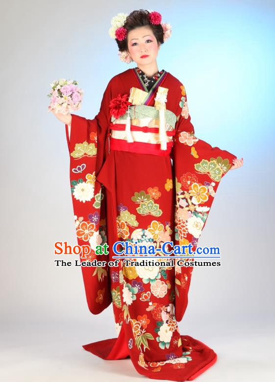 Traditional Asian Japan Geisha Costume Japanese Red Yukata Dress Furisode Kimono for Women