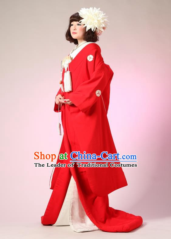 Traditional Asian Japan Geisha Costume Japanese Wedding Red Yukata Dress Furisode Kimono for Women
