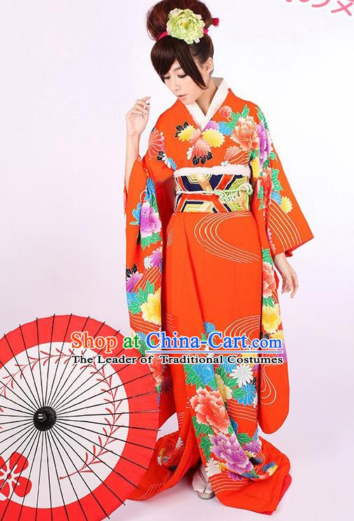 Traditional Asian Japan Geisha Costume Red Yukata Dress Japanese Wedding Furisode Kimono for Women