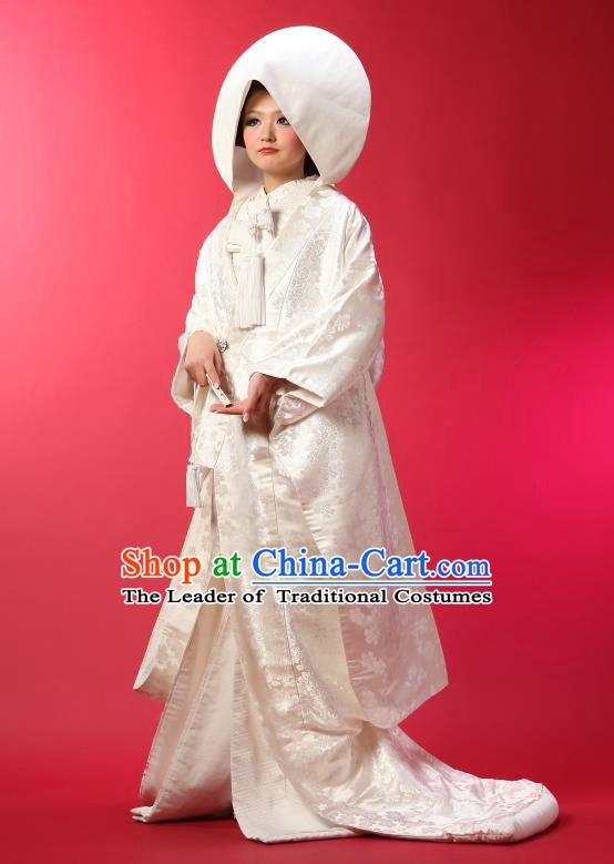 Traditional Asian Japan Geisha Costume Japanese Wedding White Yukata Dress Furisode Kimono for Women