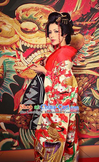 Traditional Asian Japan Bride Costume Red Yukata Dress Japanese Wedding Furisode Kimono for Women