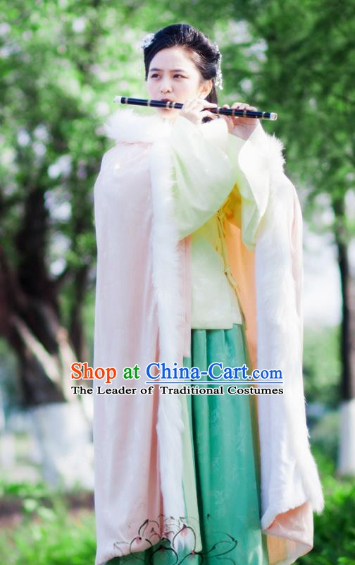Chinese Ancient Ming Dynasty Princess Costume Pink Long Cloak for Women