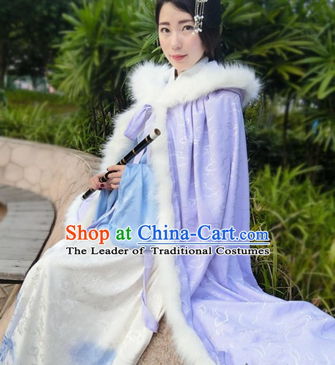 Chinese Ancient Ming Dynasty Princess Costume Purple Long Cloak for Women