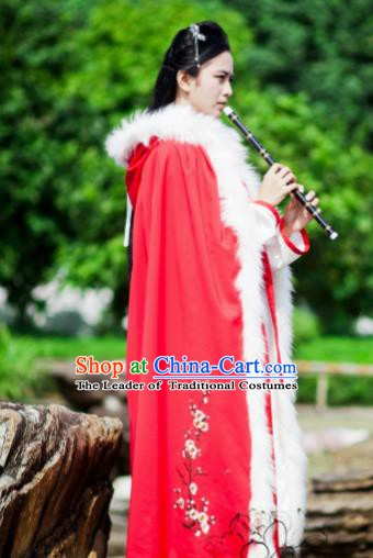 Chinese Ancient Ming Dynasty Princess Embroidered Plum Blossom Mantle Costume Red Long Cloak for Women