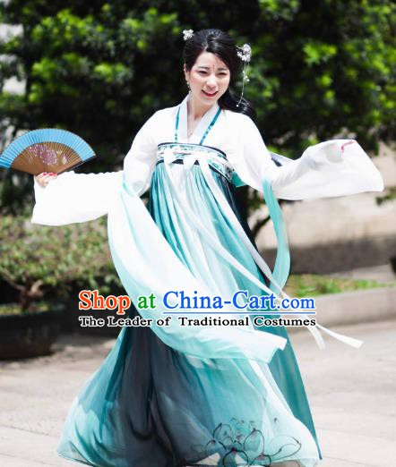 Chinese Ancient Nobility Lady Costume Tang Dynasty Princess Embroidered Dress for Women