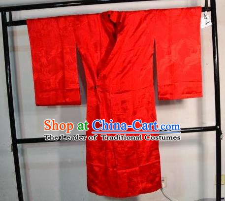 Japanese Traditional Prince Red Yukata Robe Clothing Japan Samurai Haori Kimonos for Men