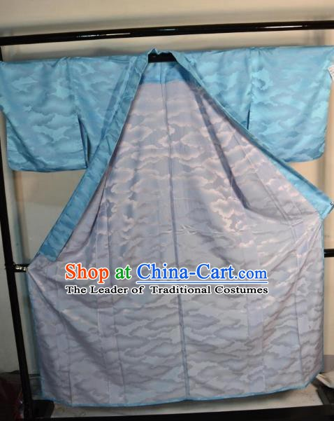 Japanese Traditional Prince Blue Yukata Robe Clothing Japan Samurai Haori Kimonos for Men