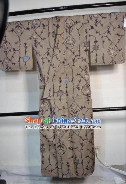 Japanese Traditional Brown Yukata Japan Samurai Haori Kimonos Robe Clothing for Men