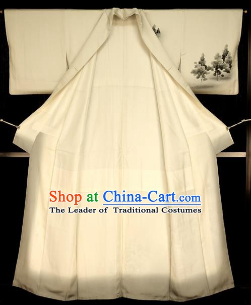 Traditional Japan Vintage Costume White Furisode Kimono Japanese Yukata Dress for Women