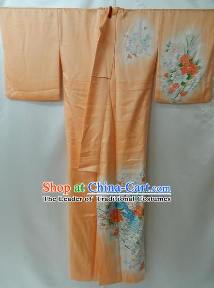 Traditional Japan Palace Furisode Kimono Costume Orange Dress Japanese Yukata for Women