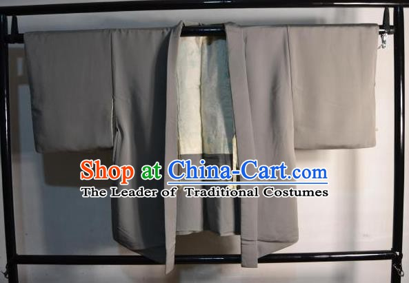 Japanese Traditional Kimono Upper Outer Garment Japan Grey Haori Apparel Yukata Costume for Men